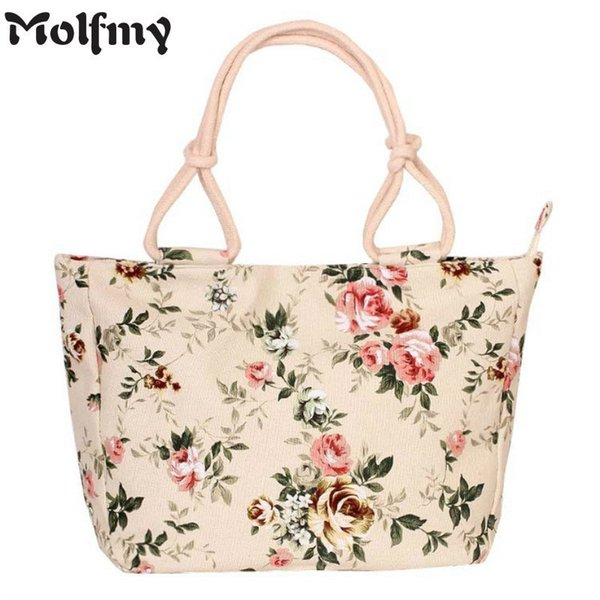2019 Fashion Folding Women Big Size Handbag Tote Ladies Casual Flower Printing Canvas Graffiti Shoulder Bag Beach Bolsa Feminina MX190726