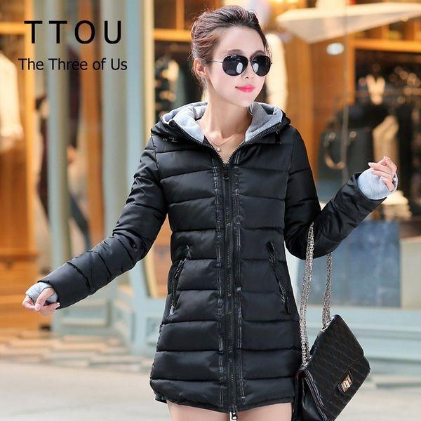 TTOU Women Winter Hooded Coat Plus Size Candy Color Padded Jacket Female Long Parka Wadded Outwear Jaqueta Feminina