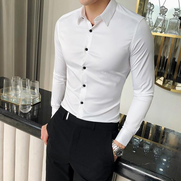 Hochwertige Seidenhemd Männer Frühling Langarm Mens Dress Shirts Solide Einfache Alle Spiel Slim Fit Männer Hemd Business Formal Wear