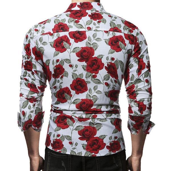 2018 Nouveaux Hommes À Manches Longues Slim Chemise Mâle De Luxe Robe Chemises Tee Fit Casual Rose Fleur Imprimé Stylish Dress Chemises # 389430