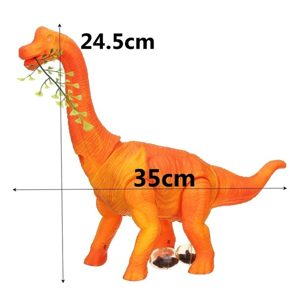 Electric Walking Lay Eggs with Sound Animals Model 3D Projection Brachiosaurus Dinosaur Battery Operated Toy for Kids Baby