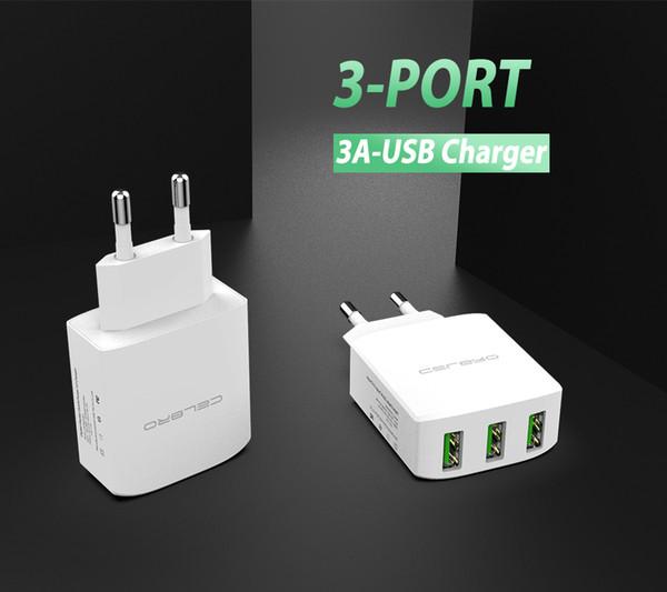 Cargador USB de pared múltiple de 2 y 3 puertos hotel teléfono móvil cargador 5v 3a eu universal iphone 7 6x8 + 6s