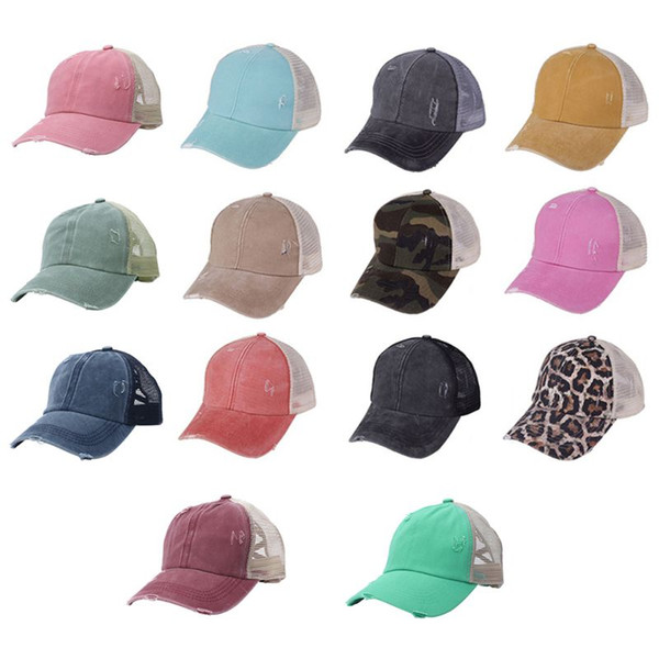 best selling Hole Ponytail Baseball Hat Washed Cotton Baseball Cap Summer Breathable Mesh Running Hat Beach Snapback Party Hats 120pcs OOA8095