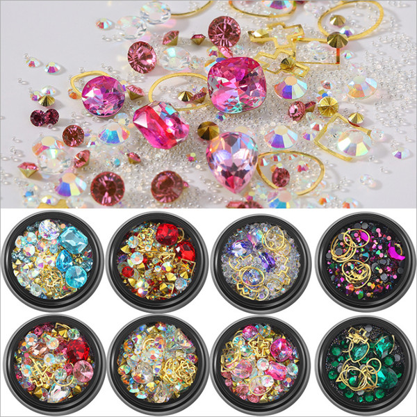 best selling Hot 12 Styles Nail art Mixed loading Metal Rhinestone Crystal beads All kinds of perfect match DIY accessories