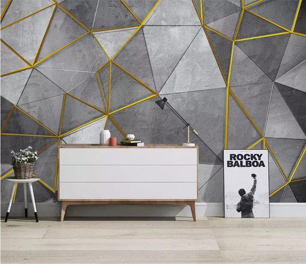 Personnalisé nordique moderne minimaliste papier peint de papier peint personnalité géométrique murale TV fond 3d papier peint