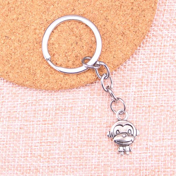 Nueva moda de doble cara mono llavero de metal hecho a mano llavero regalo de la joyería 15 * 27 mm