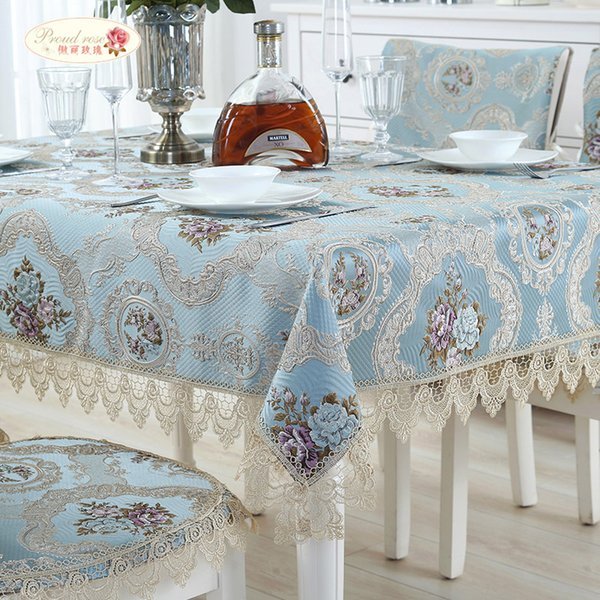 Proud Rose European Jacquard Table Cloth Lace Tablecloth Table Runner Wedding Decor Table Cover Dustproof Cloth Chair Cushion T8190620