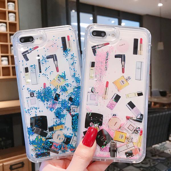 3D Rouge À Lèvres Maquillage Cas Pour IPhone X XS MAX XR 8 8 Plus dynamique Quicksand Liquide Cas De Téléphone De Luxe Designer Couverture Couvrir Gratuit DHL