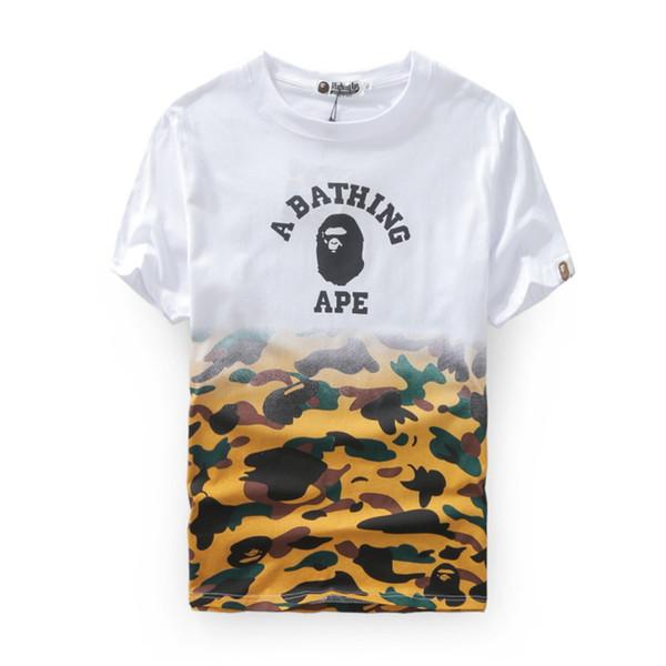 Bape Designer Mens T Shirt Hommes Femmes Haute Qualité Manches Courtes Couture Blanc Camouflage Couleur Tees Taille M-2XL