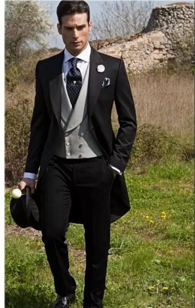 Custom Made Slim Fit Vintage Style Groom Tuxedos Peak Lapel Men's Suit Groomsman Best Mens Wedding Suits(Jacket+Pants+Vest)