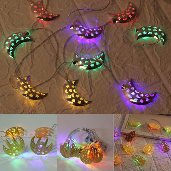 Islámica Eid Decor Ramadan Moon Castle Decoración Cadena de luz Eid al-Fitr 10 LED String Light Ramadan Festival Home Decor