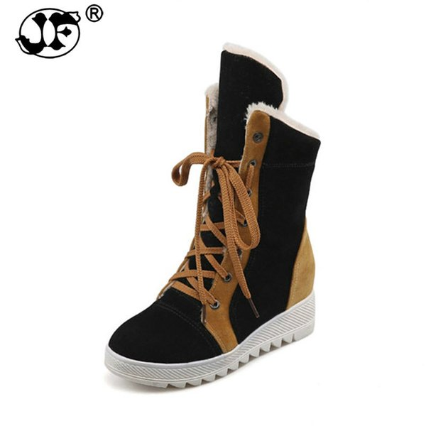 2018 large size 34-43 lace up 4 mixed colors Shoes Woman Add Warm Fur Platform winter Shoes women snow Boots plush 775