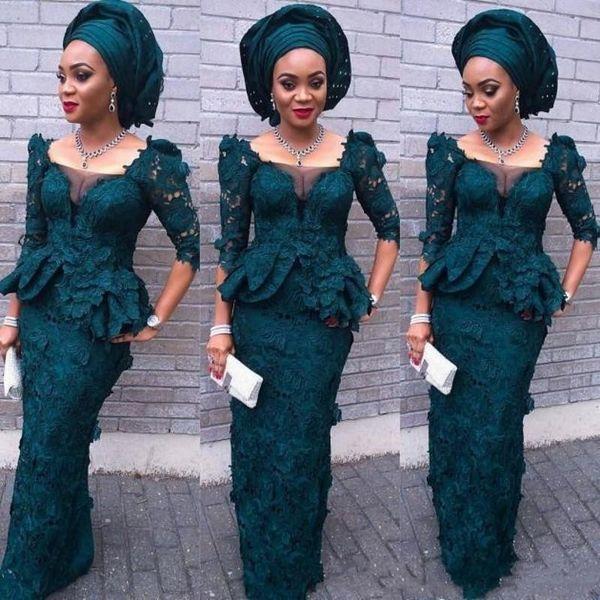 2018 Sudafricanos Aso Ebi Full Lace Vestidos de baile Medio Manga larga Vestidos largos de noche Vestidos de noche Sheer Neck Peplum Vestidos de fiesta formales