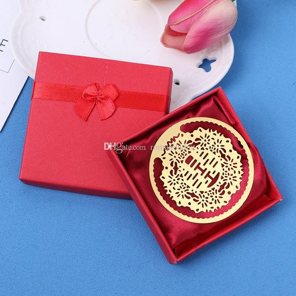 Creative Hollow-out Chinese Style Double Happy Gold Plated Metal Bookmark Wedding Favor Party Gifts DHL Free Shipping