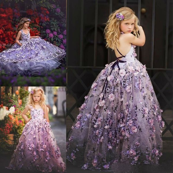 d241d160543 2019 Gorgeous Puffy Flower Girl Dresses Lace 3D Floral Appliques Backless  Kids Birthday Dress Long Pageant Gowns Custom Made