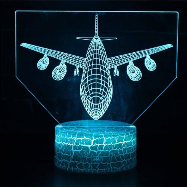 2019 New Air Plane 3D Night Light LED Remote Touch Fighter Table Lamp 3D  Lamp Colors Changing Indoor Lamp Children Gift Kids Toy From Lucktime,  $2 47