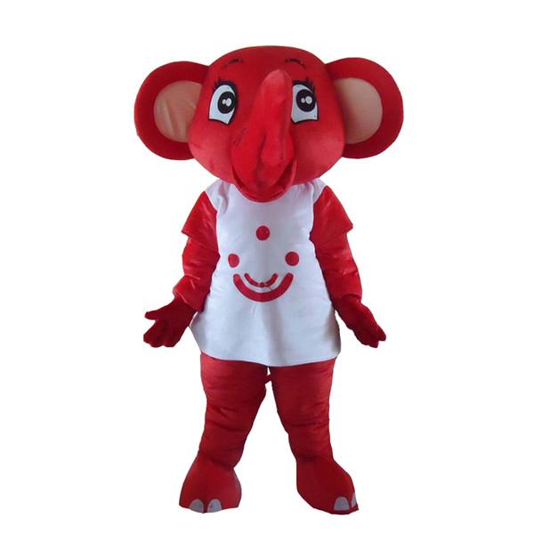 Trajes de disfraz de mascota de elefante rojo lindo Disfraz de mascota de dibujos animados de tamaño adulto para vestido comercial de festival de carnaval