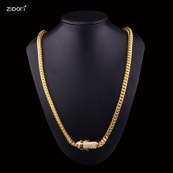 Stainless Steel Gold color Men hip hop chains necklaces bling bling 6mm width 74cm long link chain fashion necklace jewelry