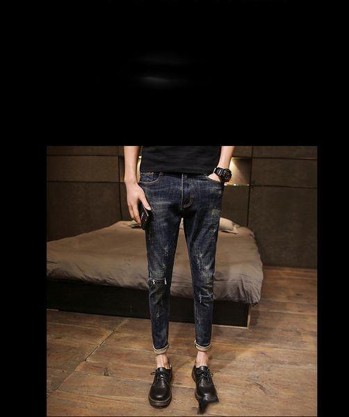 Acquista Jeans New Spring Streetwear Uomo Vestiti 2019 Jeans Skinny Slim Fit Uomo Lunghezza Caviglia Jeans Strappati Blu Vintage Uomo A $32.19 Dal