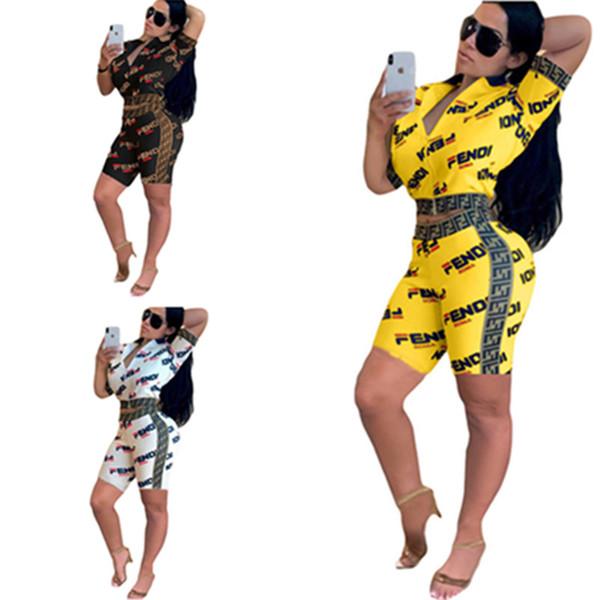 Dupla Carta F Fato de Treino das mulheres Zip Jaqueta de Manga Curta Casaco + Shorts Outfit Sports Suit Verão Sportswear Jogging Club Set S-2XL C42507