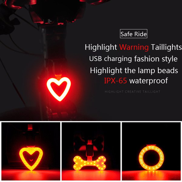NEW Creative cool Cycling 24LEDs USB Rechargeable Bike Bicycle Tail Warning Light Rear Safety 5 modes Heart Round Bone shaped 20