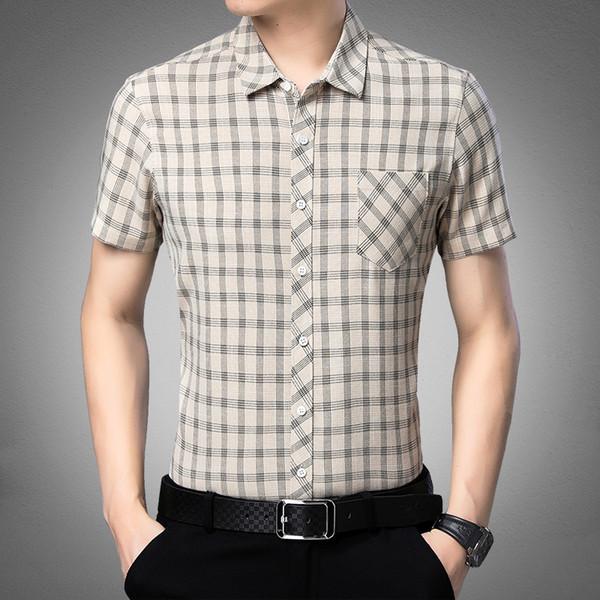 2019 Novos Homens de Rua de Rua Camisas Casuais Masculinos Xadrez Streetwear shirt Tops Homens Verão Mangas Curtas Camisas M-3XL