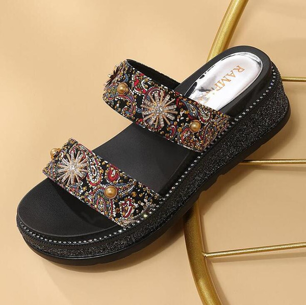 17173a2e Muffin sandalias plataforma de mujer nueva moda de verano pedrería salvaje  zapatos romanos con zapatos de