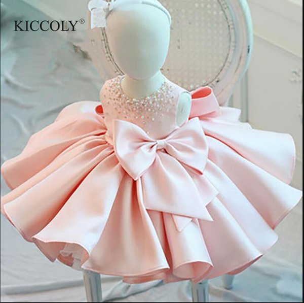 Infant Girl Clothes Beads Lace Bow Newborn Baptism Dress Sleeveless Baby Girls Party Christening Dresses 1 Year Birthday Outfits Y19061001