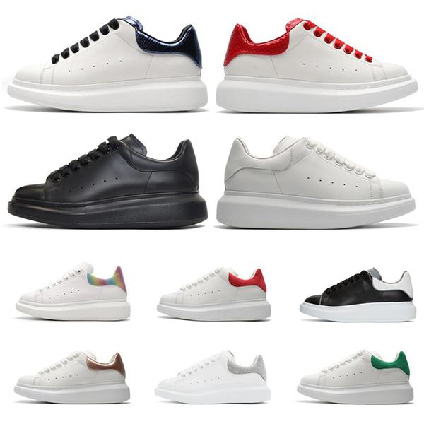 Tasarımcı Lüks Marka beyaz siyah deri rahat ayakkabılar 3 M yansıtıcı kız kadın erkek için pembe altın kırmızı moda rahat düz sneakers