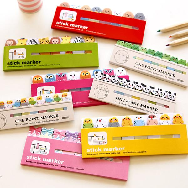 100 PCS Mignon Japanese Post Scrapbooking Scrapbook Autocollants Cartoon Animal Sticky Notes Papeterie Page Drapeaux pour Enfants AIJILE