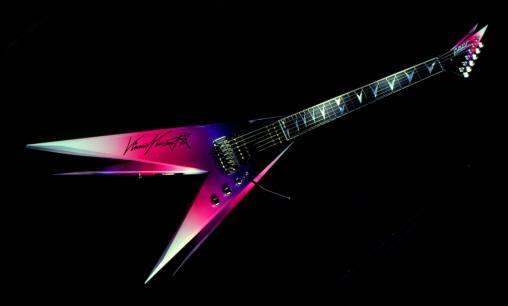Nouveau Roman Résumé V Twin Guitare Vinnie Vincent Flying V Double V Violet Rose Guitare Électrique Floyd Rose Tremolo Bridge Ebony Fingerboard