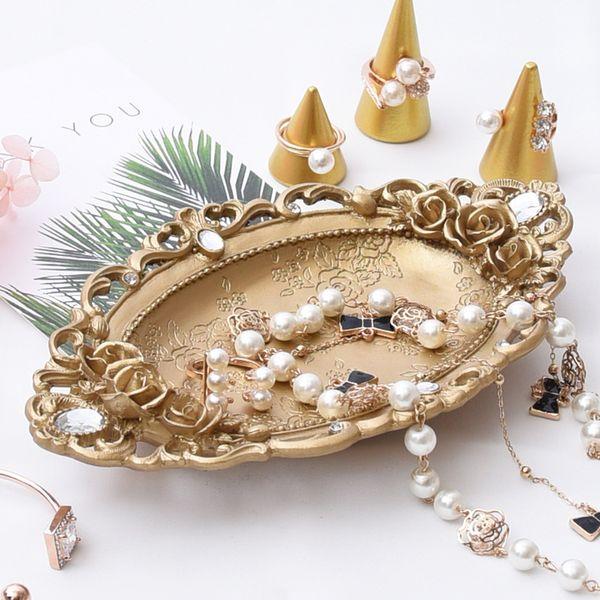 [DDisplay] Rétro Style plaque de bijoux en or Vintage Bracelet organisateur plateau style classique collier stockage Glamour boucles d'oreilles titulaire