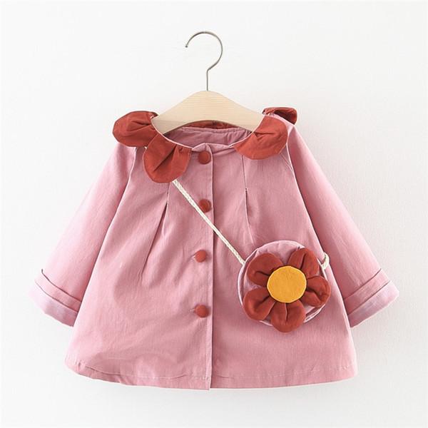 Les enfants col manteau filles coupe-vent filles Manteau Printemps Automne Printemps bébé Gilet coupe-vent Robe 1-5Y
