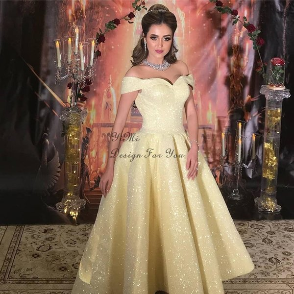Yellow High Low Prom Dresses Off Shoulder Short Formal Arabic Evening Party Gowns Special Occasion Dress For Sweet 16 Dance Gowns 2020