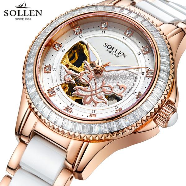SOLLEN / Solon Damen mechanische Uhren Mode automatische mechanische Uhr Frauen Stahlband wasserdicht Keramikband
