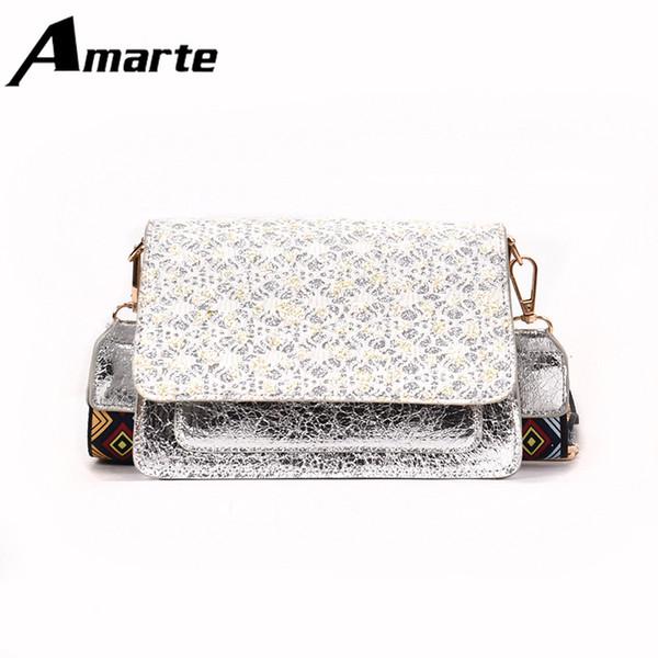 Amarte Women Pu Handbags Brand Designers 2019 Hand Bag Flap Shoulder Bag with Fashion Appliques