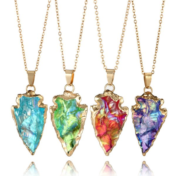 7 Colors Charms Natural Stone Necklaces Gemstone Triangle Water Drops Pendant Necklace Girls Women Jewelry Accessories Christmas Gift
