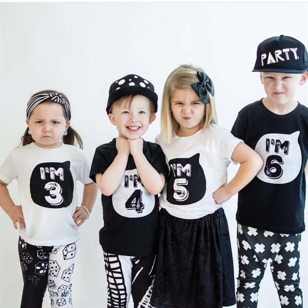 Funny Baby Shirts For Girl Boy Clothes Toddler Infant Party Birthday Outfits T-Shirts 1 2 3 4 Years Children's Shirt Tops