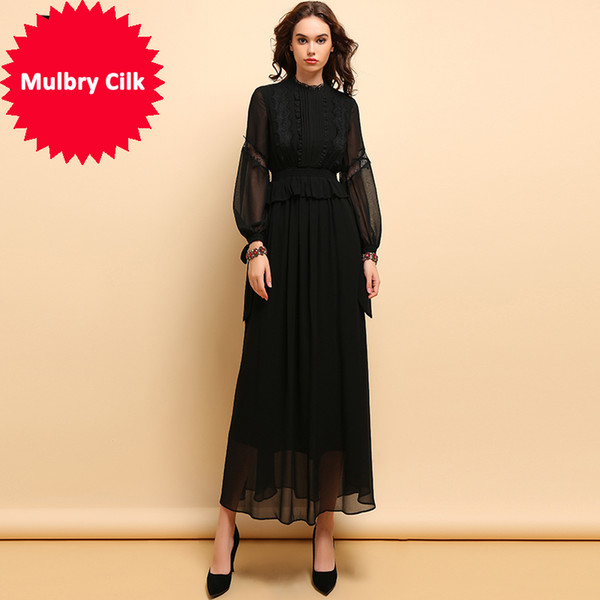 Compre Linda Della Vendimia Vestidos Negros Blusas De Manga Larga De Las Mujeres Con Pliegues De Encaje Patchwork Fiesta Elegante Vestido Largo Maxi