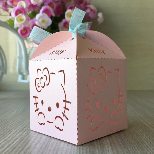 Reizende rosa Honigkitty-Katze Laser geschnittene Süßigkeits-Schokoladen-Geschenkboxen Brautgeburtstagsbox mit Bandlandhochzeitshandwerksandenken