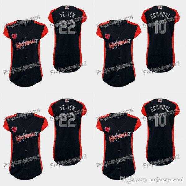 Frauen National League Milwaukee Christian Yelich Brewers Trikot 10 Yasmani Grandal 22 Christian Yelich 100% Genähte Baseball-Trikots Navy