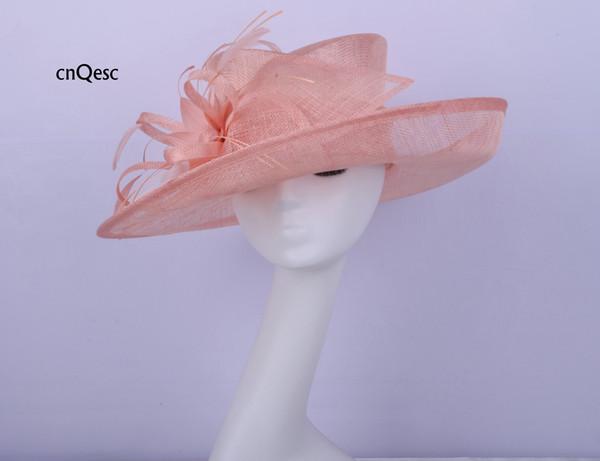 2019 Peach big brim Ladies sinamay hat Ladies formal Dress hat church hat for wedding bridal shower mother of the bride w/feather flower