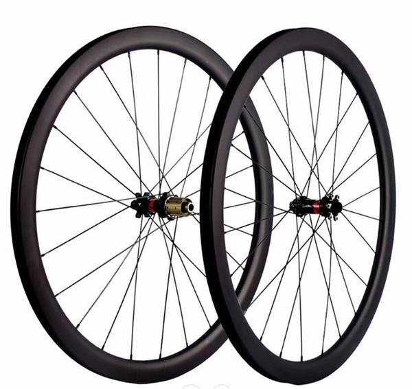 700C Road bike carbon fiber wheel set 30 40 45 50 55C depth 25mm road disc brake version 411/412 hub, four-in-one opening