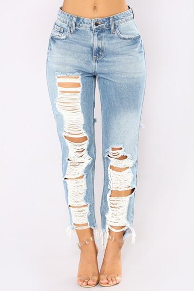 2019 Casual Long Jeans Women High Waist Skinny Pencil Blue Denim Pants Ripped Hole Skinny Slim Jeans Women Plus Size G3p9 J190626