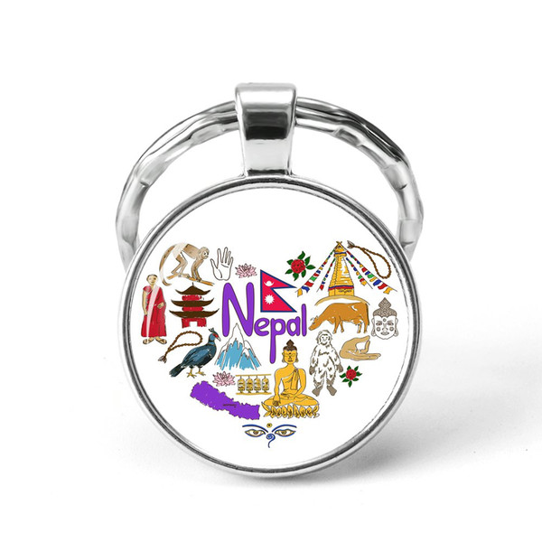 Style2 Quotes Jewelry Ethnic Style Keychain Russia USA France Italy Finland Indianationality Keyring Glass Cabochon Keyring Keychain