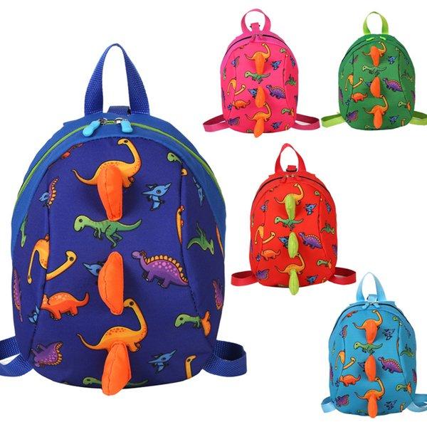 top popular Super Cute Cartoon Dinosaur Nylon 5 Colors Toddler Backpack Kids Chirdren School Nursery Toy Bag Good Quality 2020
