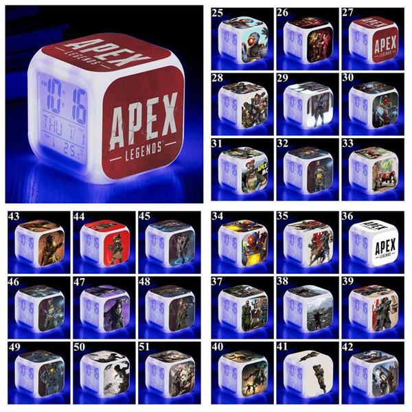 53 Styles Apex Legends Alarm Clock Apex Legends Digital Desk Square Alarm Clock with LED Screen Desk Clock Table Clocks CCA11354 120pcs