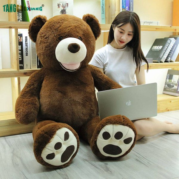 120cm Big Size 100% Cotton Stuffed Plush Animals Toys Brown Teddy America Bear Plush Toy Soft Animal Doll Xmas Gift
