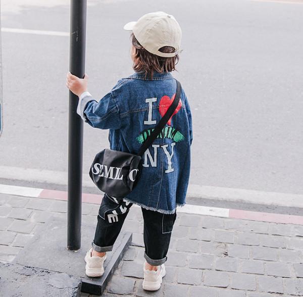 2019 Spring new Boys denim outwear kids love heart letter printed jean jacket children lapel single breasted long sleeve cowboy coat F4599