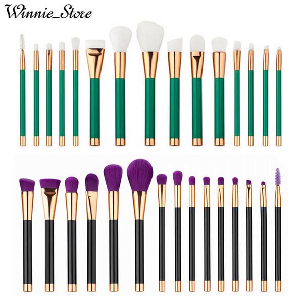 Factory Direct DHL Free! High Quality 15pcs Fine Brush Makeup Brushes Set Powder Foundation Cosmetics Make Up Brush kit Tools Green Handle